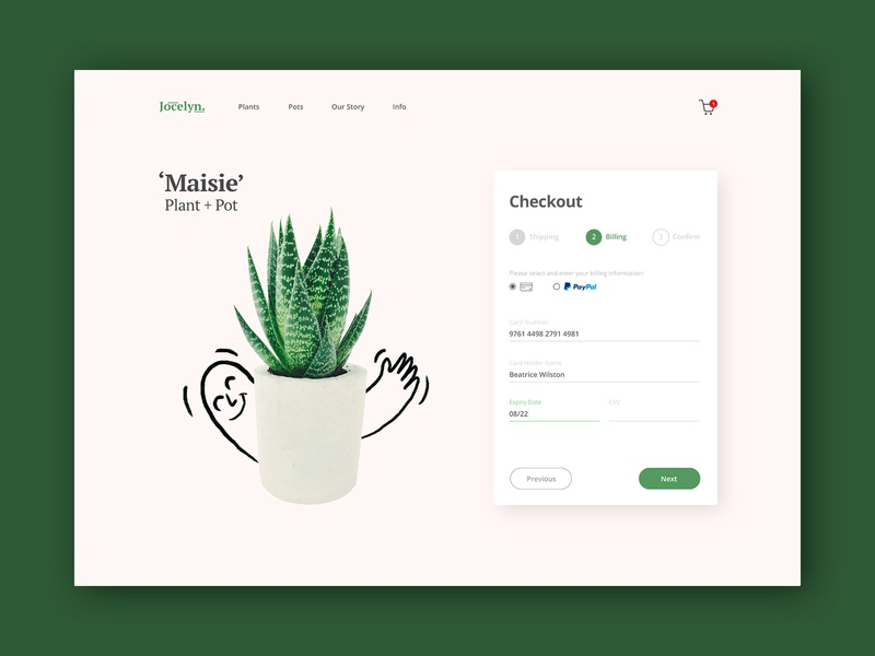 Checkout Page - Daily UI Challenge #002 delivery service botanical botanics daily ui challenge plants daily ui challange checkout form checkout page daily ui 002 daily 100 challenge daily ui ui