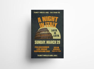 A Night in Italy Poster Design fundraiser poster design mockup adobe photoshop branding logo vector typography adobe illustrator print design illustration graphic design design