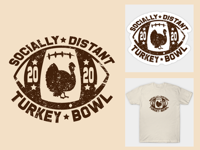 Socially Distant Turkey Bowl Design thanksgiving adobe photoshop adobe indesign logo print design branding vector illustration typography adobe illustrator graphic design design
