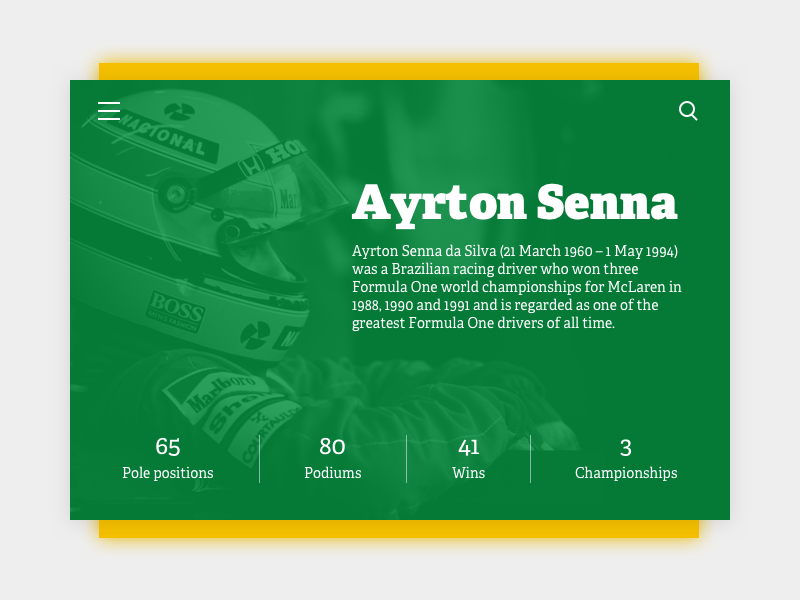 Daily UI #06 - User Profile ayrton senna formula 1 006 brazil racing profile user card ui dailyui daily