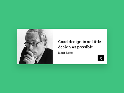 Daily UI #10 - Social Share quote dieter rams 010 card ui dailyui daily share social