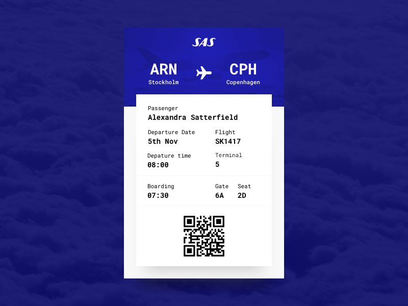 Daily UI #24 - Boarding Pass