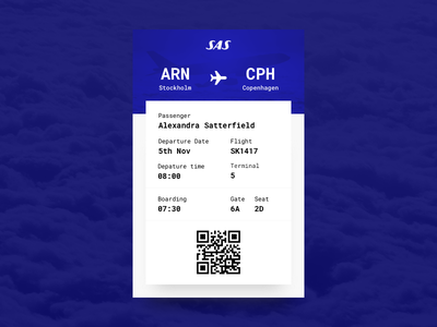 Daily UI #24 - Boarding Pass copenhagen arlanda flight ticket star alliance sas pass boarding 24 daily ui