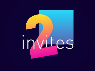 Two Dribbble Invites gradient dribbble invite