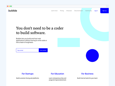 Bubble.is refresh landing responsive web ui branding