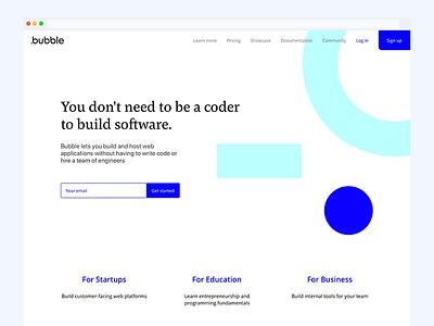 Bubble.is refresh landing responsive web ui branding