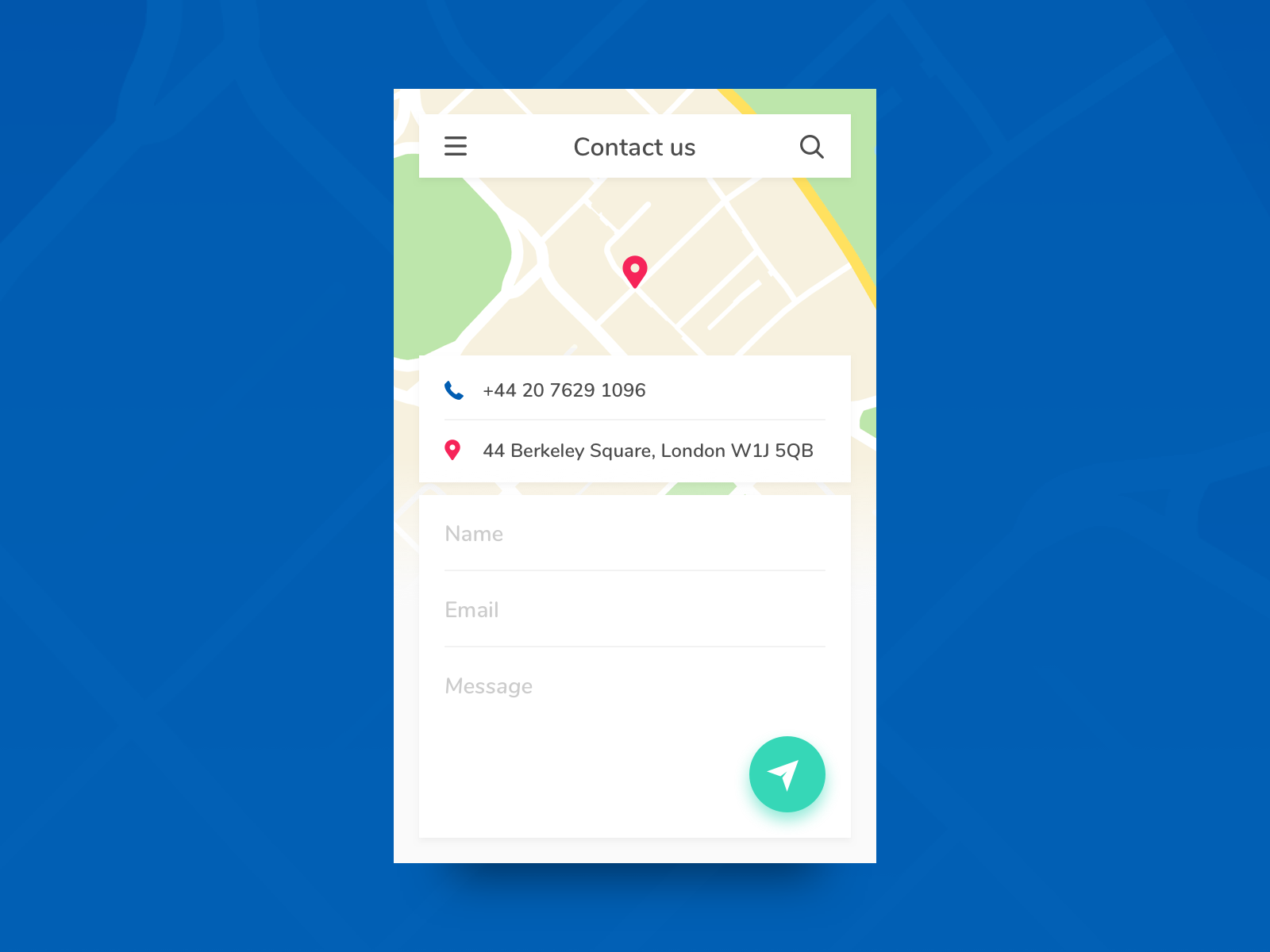 Daily UI #28 - Contact Us