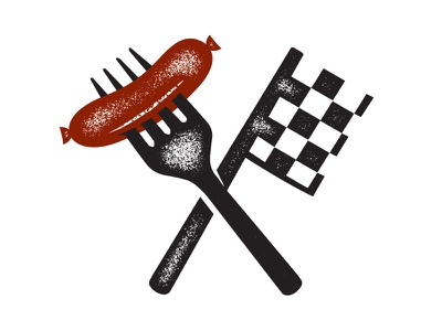 Meat & Greet meat greet fork sausage flag racing