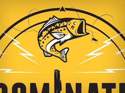 Dominate the Water bass fish motor lightning compass dominate water t-shirt