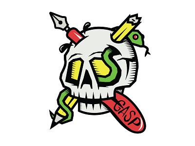 Last Gasp Logo skull ink pen pencil snake tongue last gasp publishing