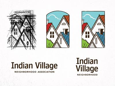 Indian Village Logo neighborhood association houses tree sky logo indian village