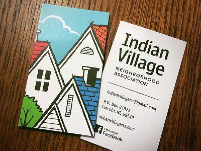IVNA Business Card neighborhood association houses tree sky logo business card indian village