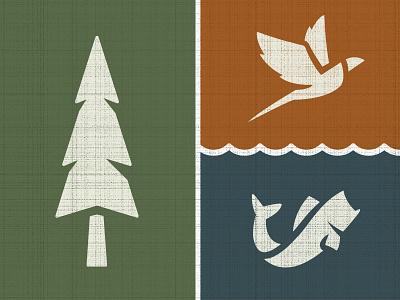 Outdoor Icon Set outdoor nature tree pheasant bass pine fish bird icon