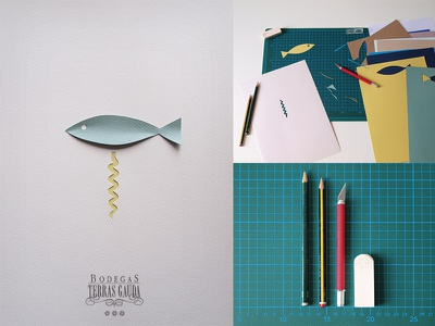 Poster design - Francisco Mantecon Contest fish wine poster mantecon paper