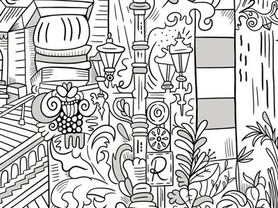 J & B Mural Closeup illustration pattern hand drawn type black and white mural