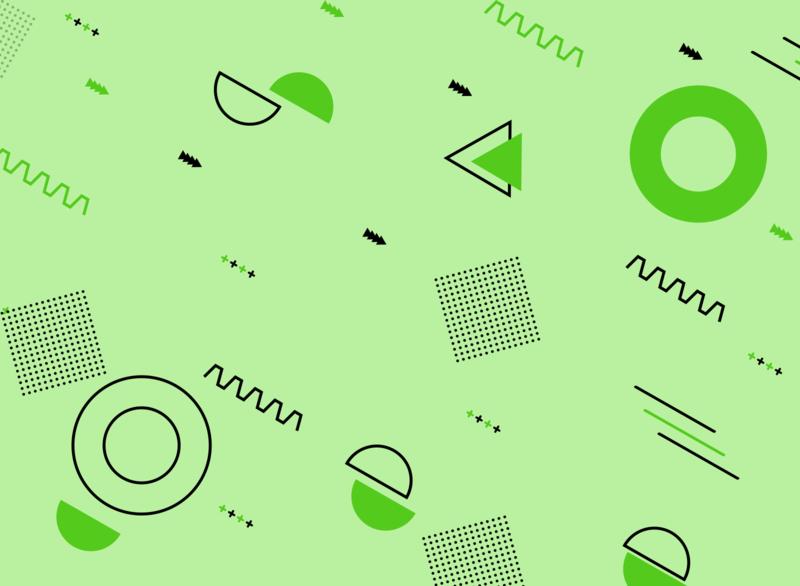 green memphis flat vector illustration