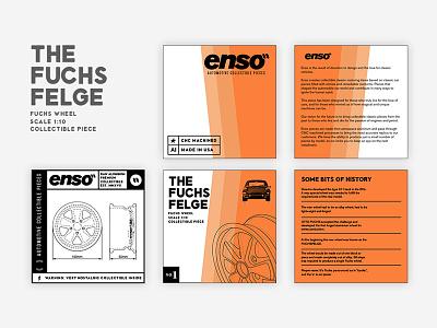 Enso'' Wheels - The Fuchs Felge porsche. box colors typo cars packaging graphic design