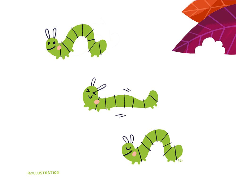 Stretch childrens book grow yoga stretch graphic art bugs bookworm caterpillar cute art animal illustration childrens book illustration digitalartist illustration digital art