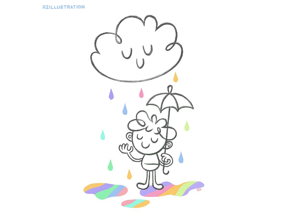 Rain brings rainbows colorful drawing rainbows rainbow rain clouds cloud design childrens book childrens book illustration digitalartist illustration digital art