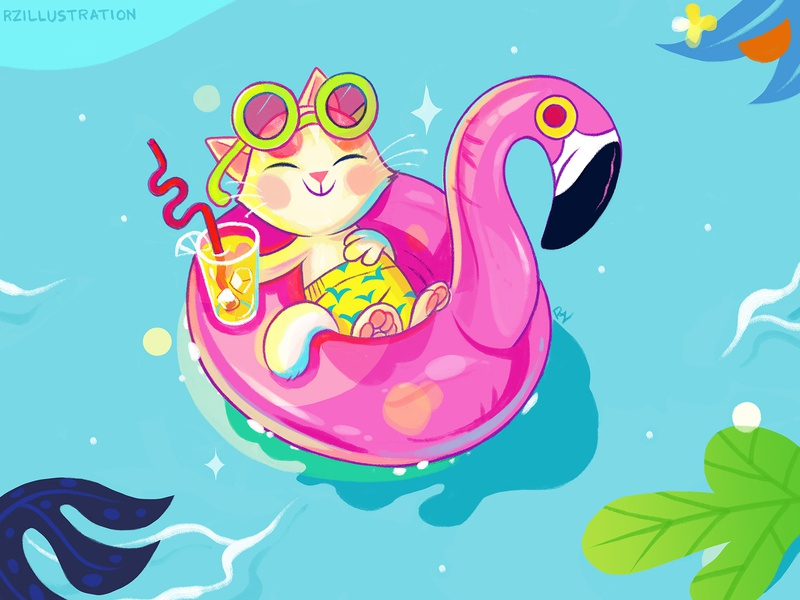 Happy Place paradise drink tropical pool flamingo cat cute art animal art animal illustration childrens book illustration digitalartist illustration digital art