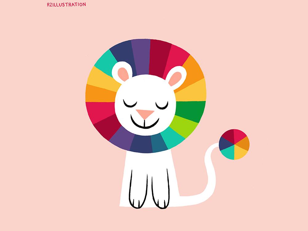 Dandy Lion prism pantone rainbows colors lion cat animals childrens book animal art animal illustration childrens book illustration digitalartist illustration digital art