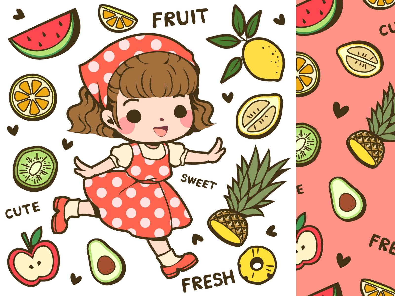 cute girl and fruit