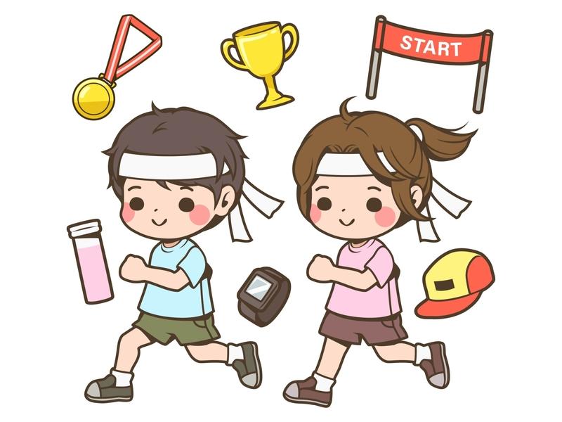 Runners boy and girl cute kid child vector kawaii illustration design boy girl character cartoon