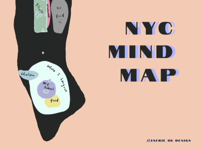 Daily UI 029: Map - My NYC Mind Map mind map nyu nyc doodle illustration dark ui vector procreate minimalism figma ux ui design dailyui