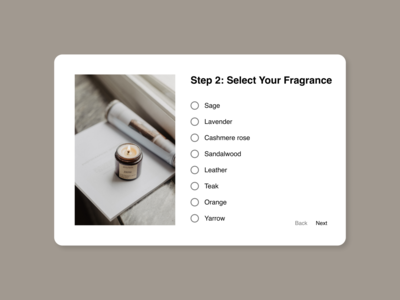 Daily UI 033: Customize Product fragrance candle customize product minimalism figma ux ui design dailyui