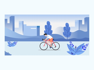 Bike Flat Illustration blue flat bike ride flatdesign city cycling bike vector illustration ilustration graphicdesign design