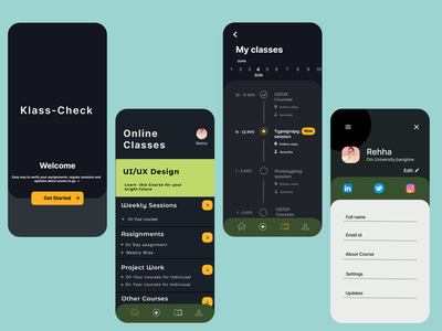 Klass Check - To check your online classes routine typography icon app ui ux design