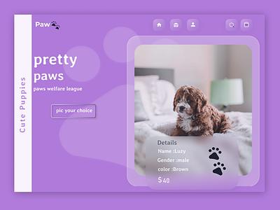 Pretty paws icon flat landing page design homepage design web typography website art ux ui design webdesign