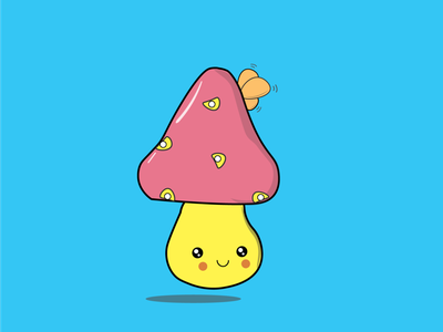 Mushroom web vector flat art app ux ui typography design illustration