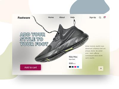 Shoe webdesign app typography homepage design landing page design website web ux icon ui webdesign design