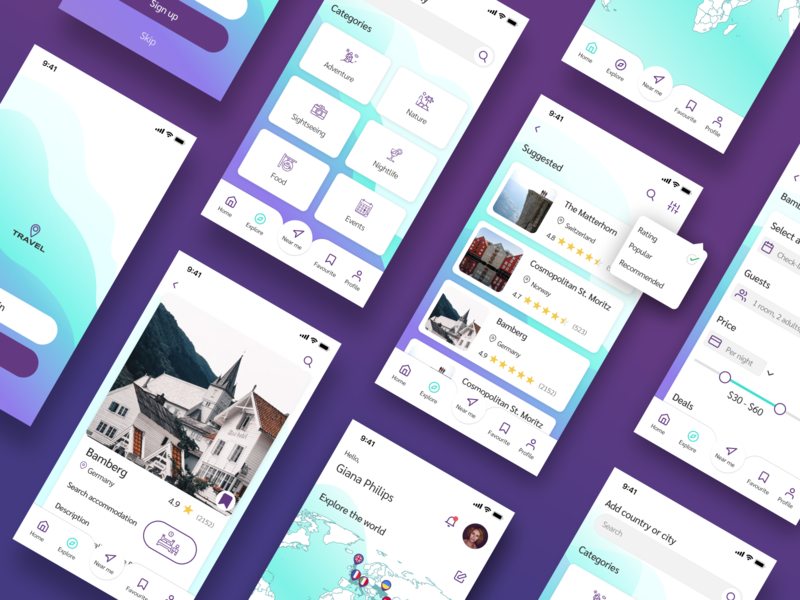 Travel App app design design dribbble ux ui mobile app travel app design