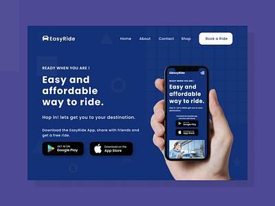 A ride sharing app landing Page - Desktop