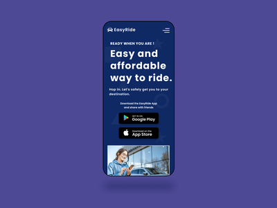 A ride sharing app landing Page - Mobile
