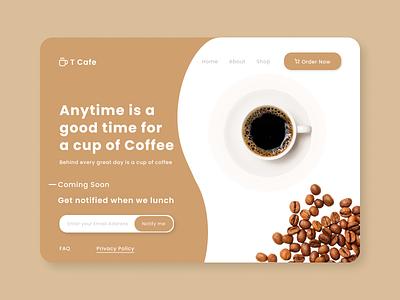 A Coffee shop Coming Soon Landing Page - Desktop