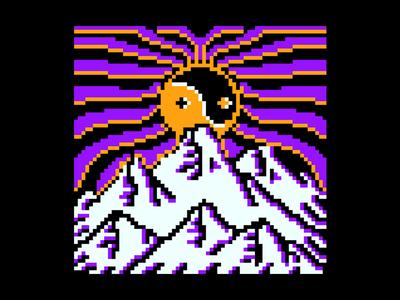 Mountain adventure vector flat vintage tattoo pixelart pixel logo illustration design branding