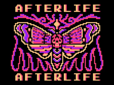 Afterlife skull flat vintage tattoo pixelart pixel logo illustration design branding