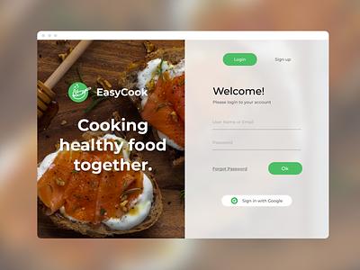EasyCook daily ui 001 dailyui sign in food healthy cooking ui design