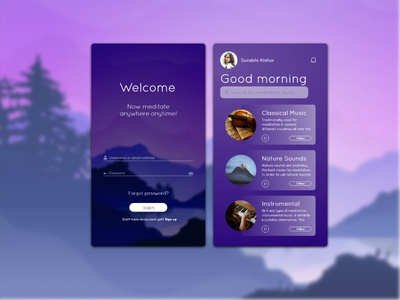 meditation music app ui animation icon typography vector ui logo illustration branding web app ux design