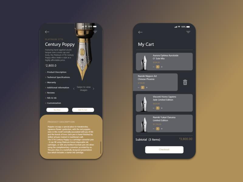Pen shop concept: App ui design ecommerce app penshop icon animation logo illustration branding web app ux ui design