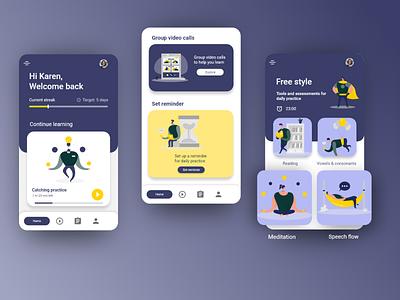 Stamurai: Speech therapy app design android app speech therapy medical app icon branding animation web app ux ui design