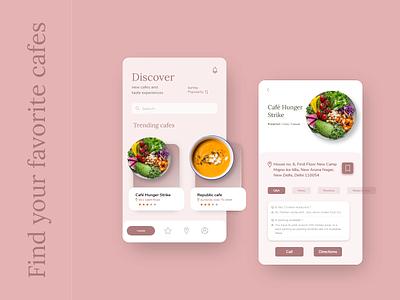 Cafe app concept: Find cafes near you appuidesign app design cafeapp cafeteria cafe ecommerce app illustration icon branding animation web app design ux ui