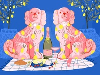 Picnic for two fashion illustration procreate art procreate app love stationary dog pink and blue fashion editorial design digitalart painting procreate flat vector drawing illustration concept art vector illustraion illustrator
