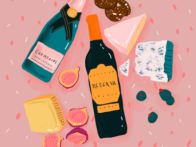 Wine and cheese fashion figs cheese wine procreate vector illustration