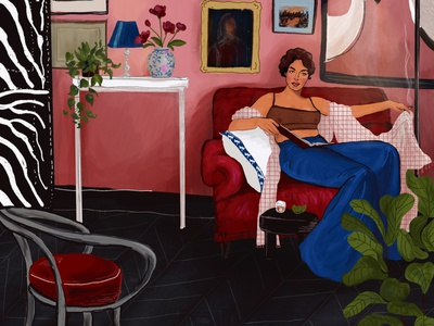 Reading room art character design illustration fashion illustration scenes plant home women drawing fashion painting procreate product