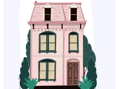 The Pink House poster texture drawing house illustration house icon home flat vector fashion art cartoon concept art vector illustration