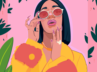 Cardi B flower flowers design concept boss women rapper cardi b girl poster character flat vector women character design drawing art fashion cartoon concept art vector illustration